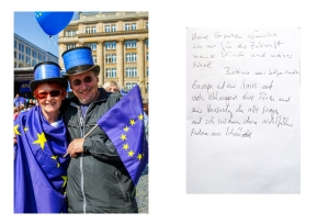 Betina wishes herself open borders on the european continent. For Andreas Europe is a big house with no doors, but a common idea. Frankfurt // Pulse of Europe 30.04.17