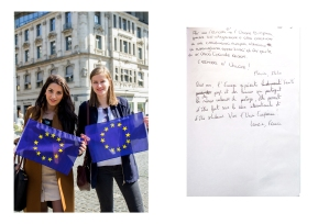 Flavia from Italy and Laurie from France were visiting Frankfurt and wanted to make a statement for the the Union. Frankfurt // Pulse of Europe 30.04.17