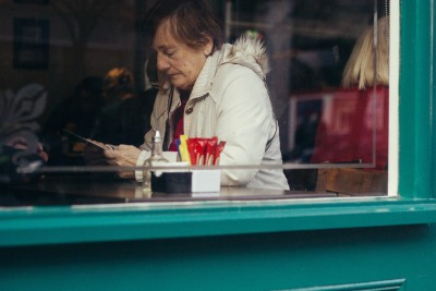 A woman waiting for her breakfast in Dublin.