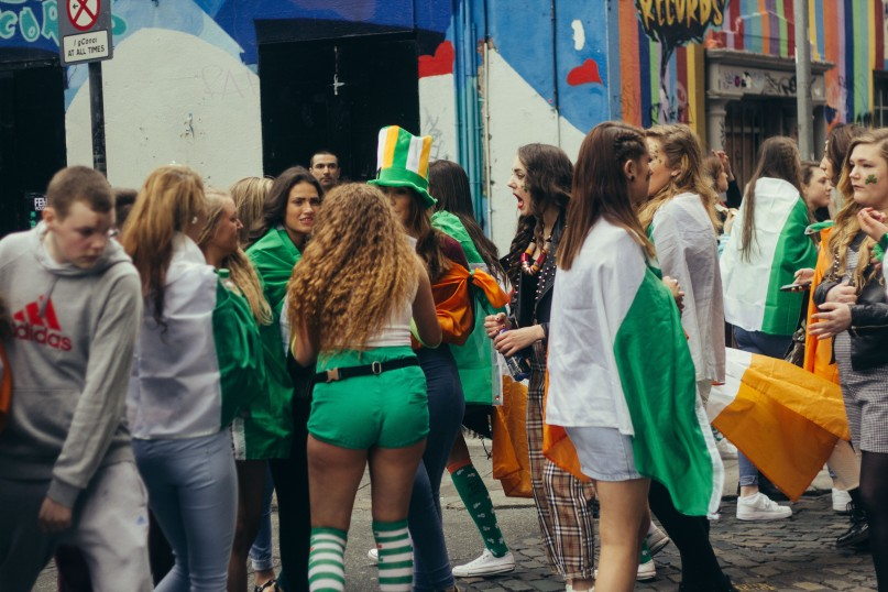 People watching the Street parade on St. Patrick's Day