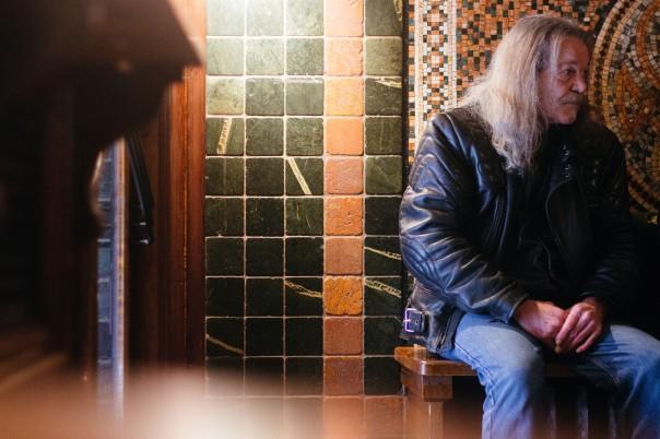 A men sitting in the Foggy Dew Pub.