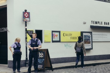 Police officers in the Temple Bar District.